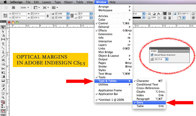 turning on optical margins in Adobe InDesign