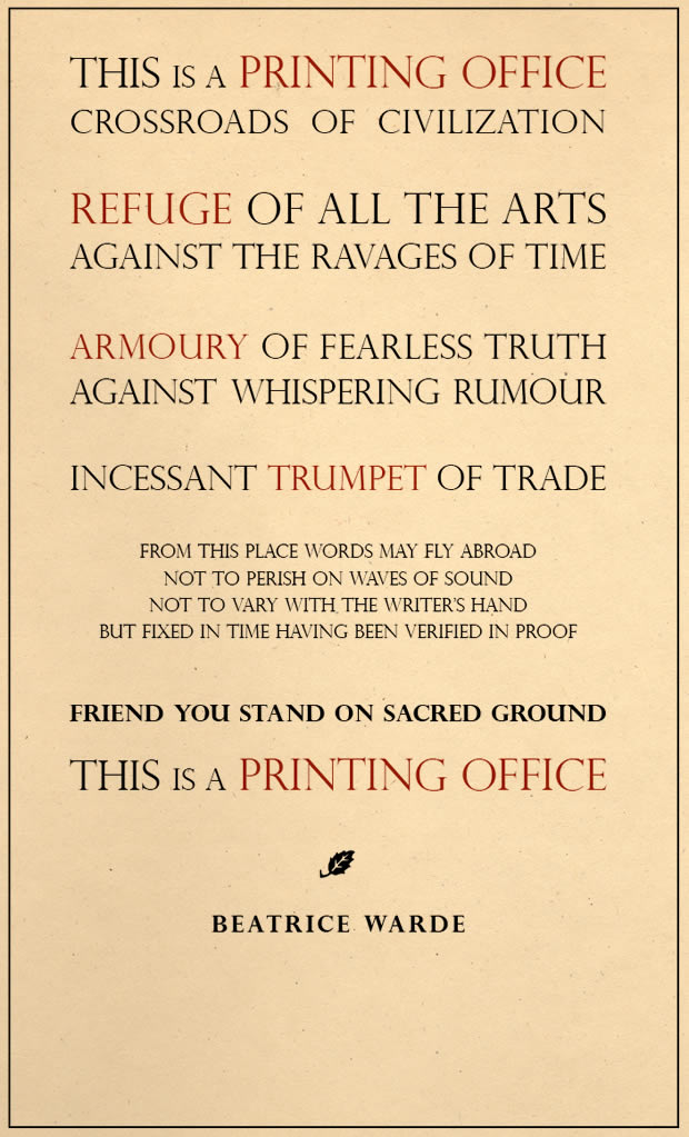 This Is A Printing Office by Beatrice Warde