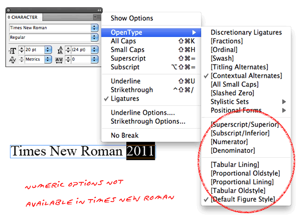 Times New Roman - no numeric options