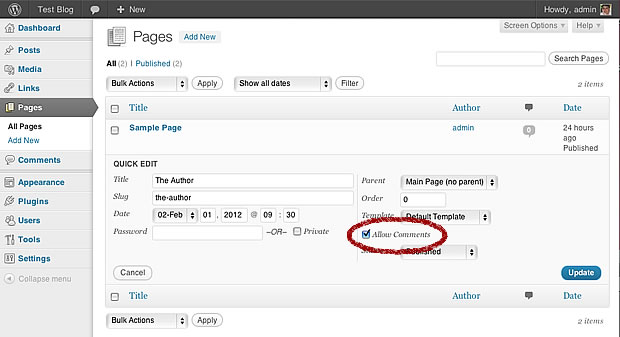 wordpress turn off comments