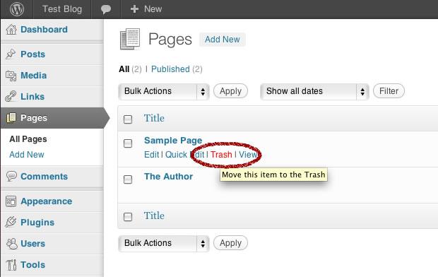 wordpress delete sample page