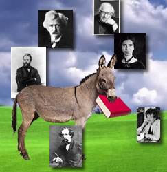 donkey with book and famous writers