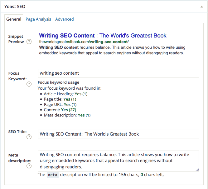 Writing SEO Content - Final Yoast SEO Results