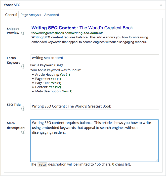 Writing SEO Content - Yoast SEO Meta-Description