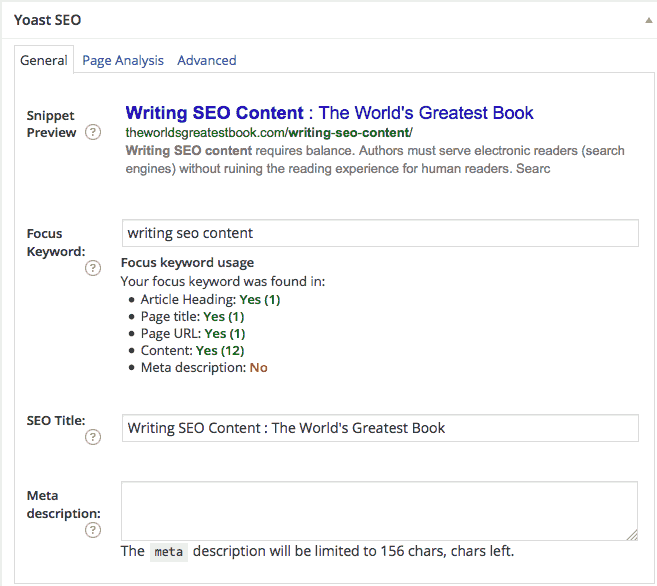 Writing SEO Content - Yoast SEO WordPress Plugin